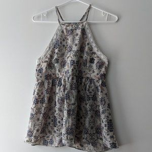 Maurices Floral Tank Blouse Beige Size Small